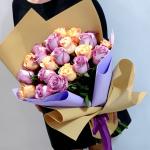 Букет из 21 желтой и сиреневой розы