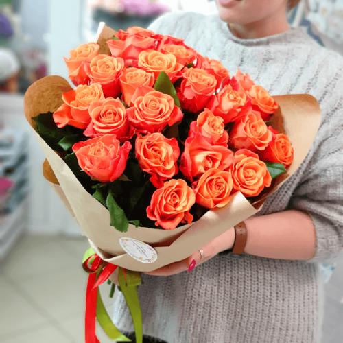 Букет из 25 оранжевых роз Passione