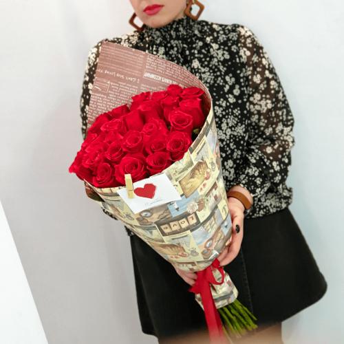 Букет из 25 красных роз Rigoroso
