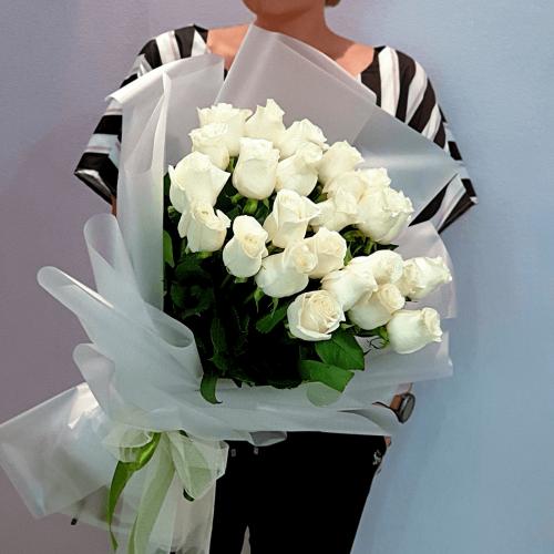 Букет из 25 белых роз Elegante
